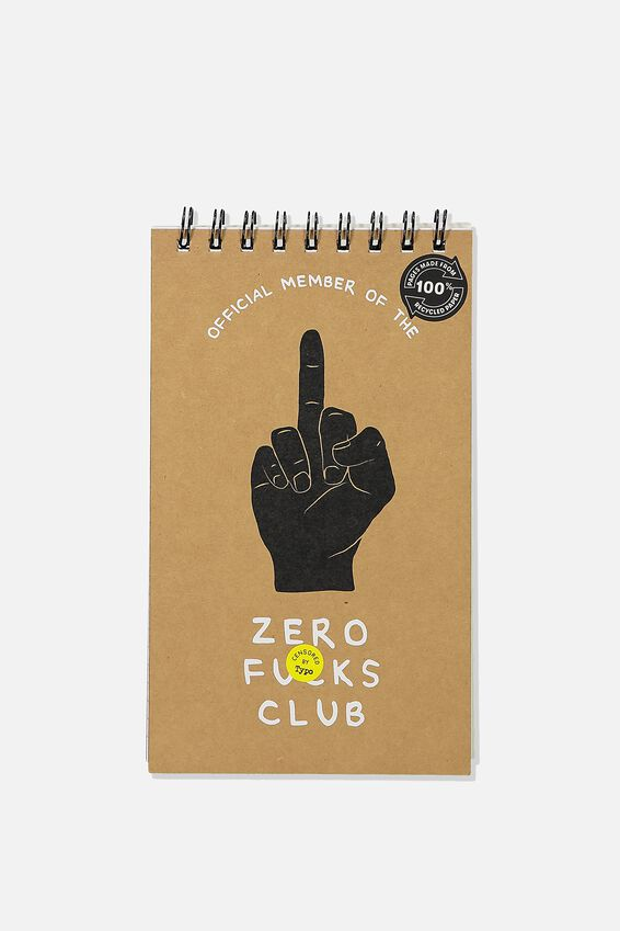 Flipout Notepad Recycled, ZERO F*CKS!!