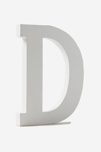 Letterpress Wooden Letter, WHITE D