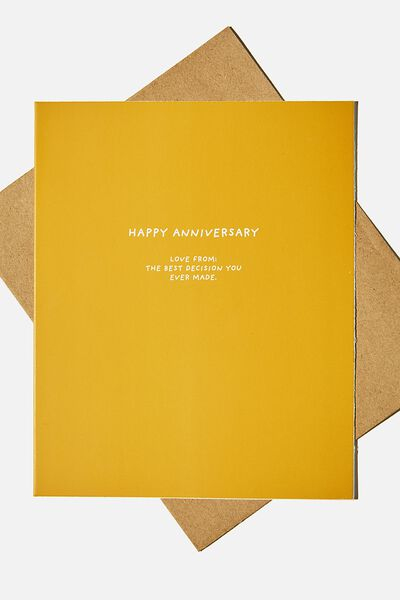 Anniversary Card, ANNIVERSARY BEST DECISION MUSTARD
