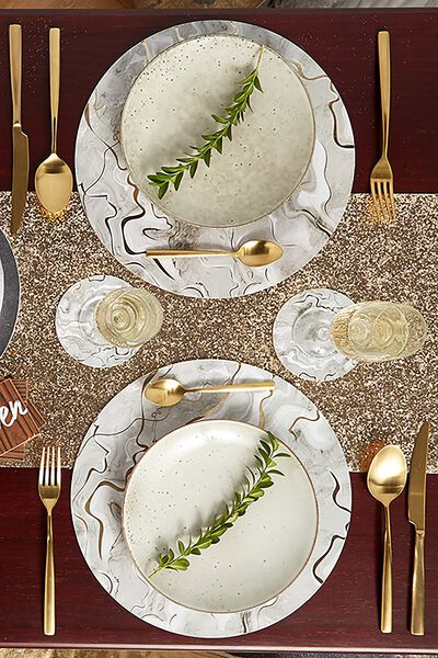 Placemat & Coaster 4 Pack, GOLD MARBLE