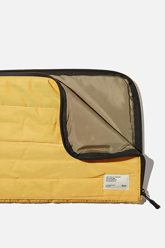 Utility Recycled 13 Inch Laptop Case, MUSTARD AND KHAKI
