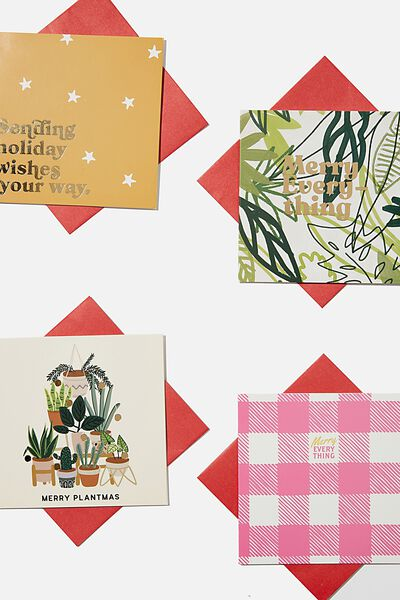 Christmas Card 20 Pack 2020, PLANTMAS GINGHAM