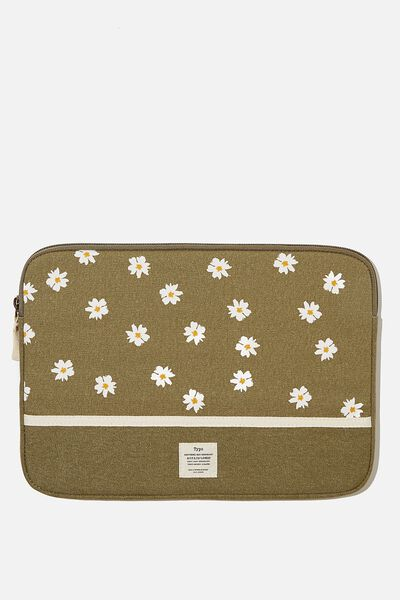 Canvas 13 Inch Laptop Case, DAISY KHAKI WITH KHAKI SPLICE