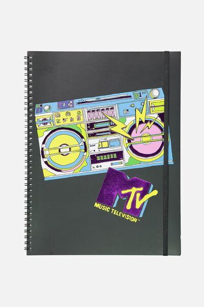 A4 Spinout Notebook - 120 Pages, LCN MTV GLITTER