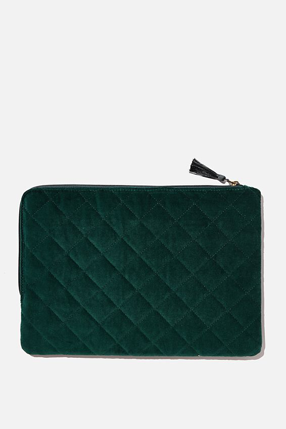 Velvet Oxford 13 Inch Laptop Case, QUILTED DEEP GREEN