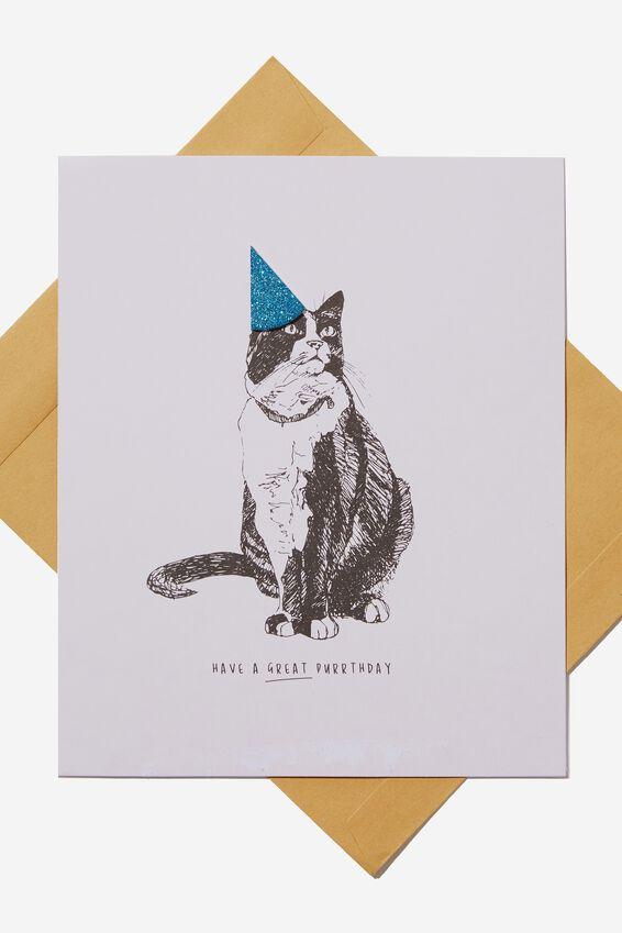 Premium Nice Birthday Card, GLITTER HAT PURRTHDAY