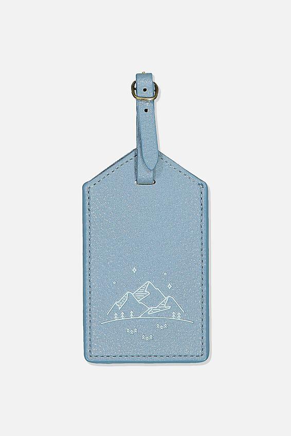 Luggage Tag, PETROL BLUE MOUNTAINS
