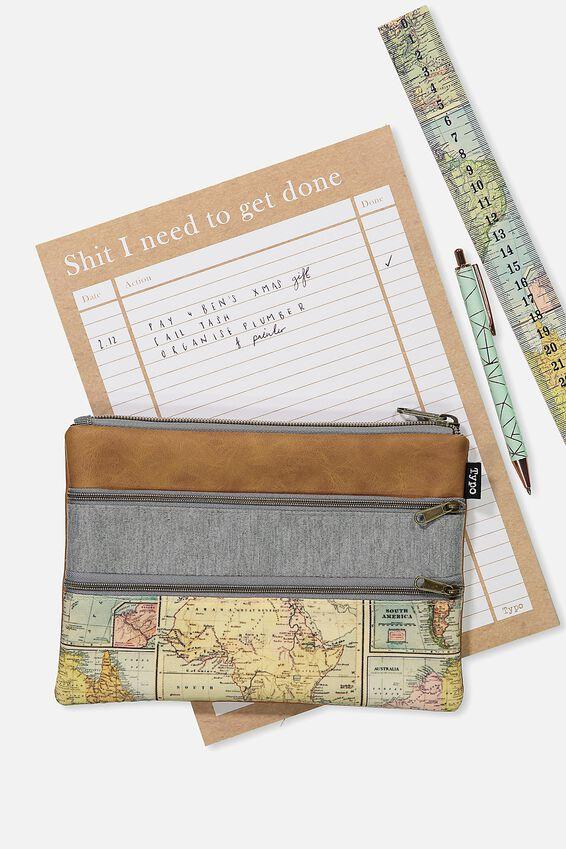Double Archer Pencil Case, MAP GREY MARLE