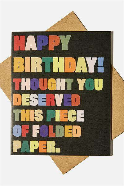Nice Birthday Card, PIECE OF FOLDED PAPER ILLUSTRATION