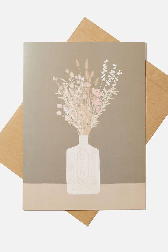 Large Fashion Card, FLOWER GIN BOTTLE BUNCH