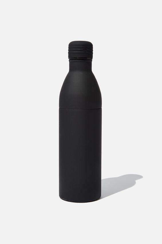 Two Piece Metal Drink Bottle, PL RUBBER BLACK