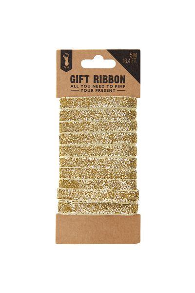 Printed Gift Ribbon, GOLD GLITTER