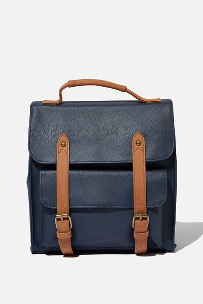 Buffalo Satchel Backpack, NAVY W/ MID TAN