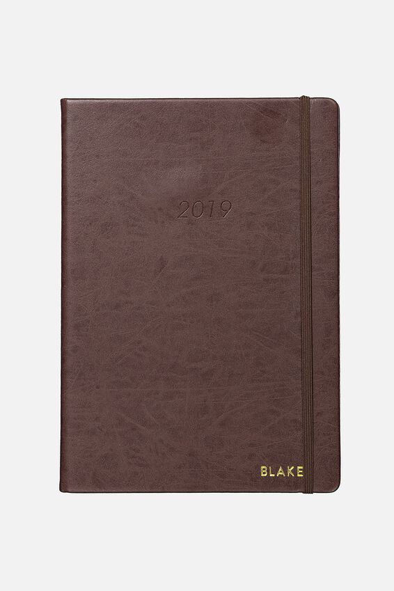 Personalised 2019 A4 Weekly Buffalo Diary, VINTAGE TAN