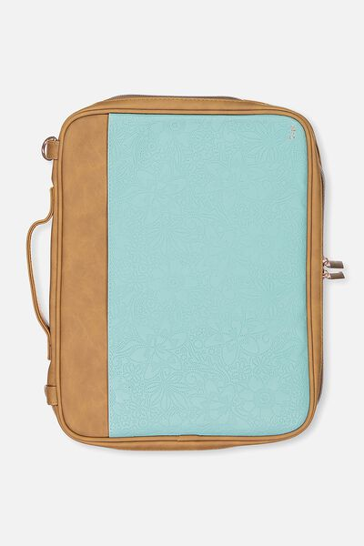 Mobile Laptop Folio, AQUA AND TAN