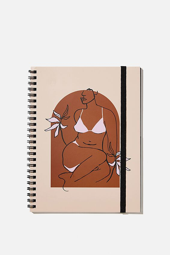 A5 Spinout Notebook Recycled, BODY ARCH ILLUSTRATION