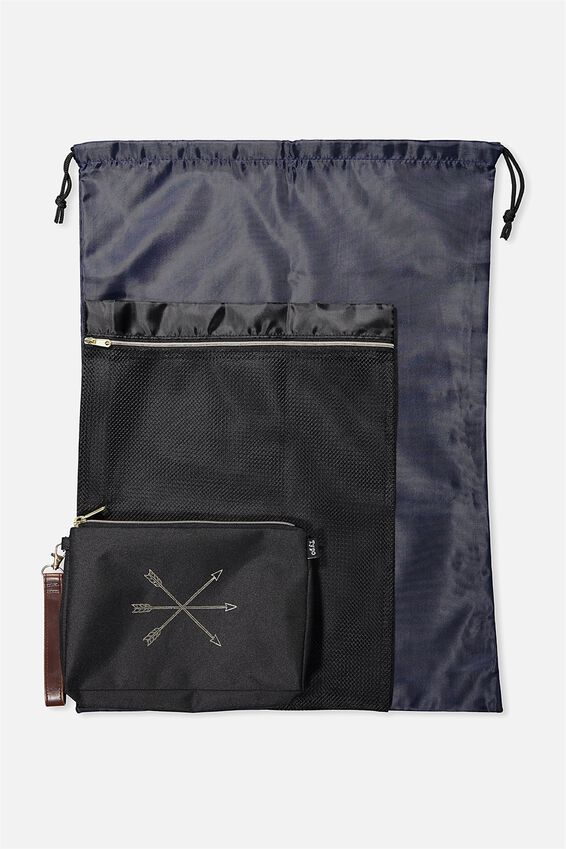 3 Pc Travel Organiser Bags, BLACK ARROWS