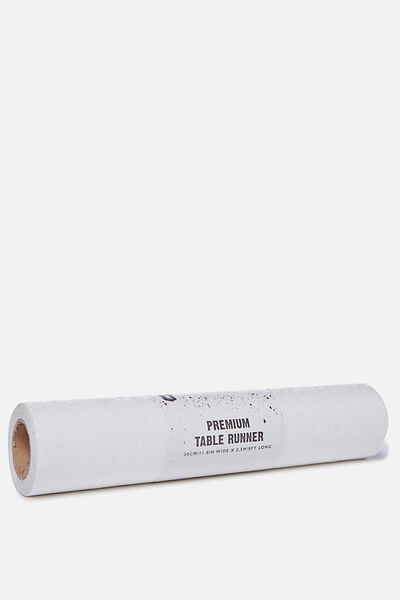 Premium Table Runner 2.5M X 30Cm, CHUNKY WHITE IRIDESCENT