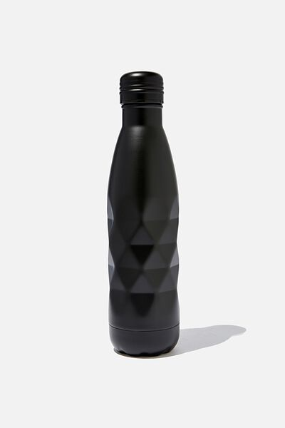 Premium Metal Drink Bottle, MATTE BLACK FACETED