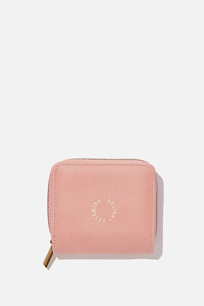 Rfid Mini Wallet, DUSTY ROSE QUOTE
