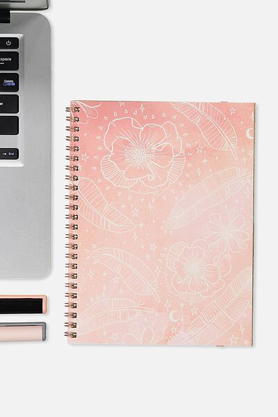 A5 Spinout Notebook - 120 Pages, BOHO FLORAL