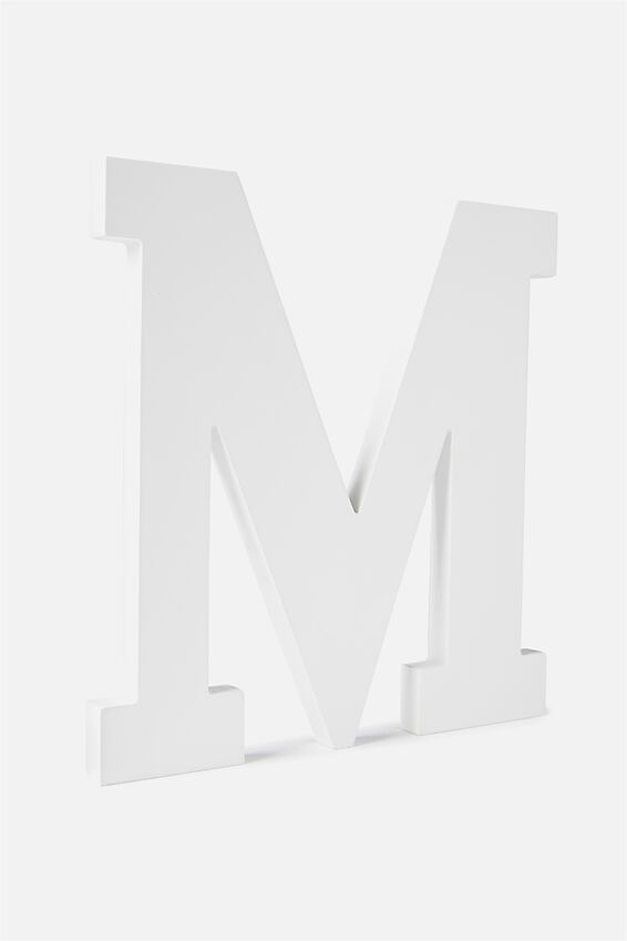 Large Letterpress Letter, WHITE M