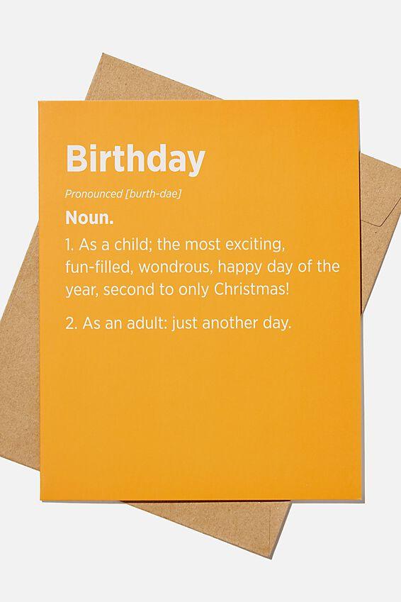 Funny Birthday Card, BIRTHDAY NOUN RUST