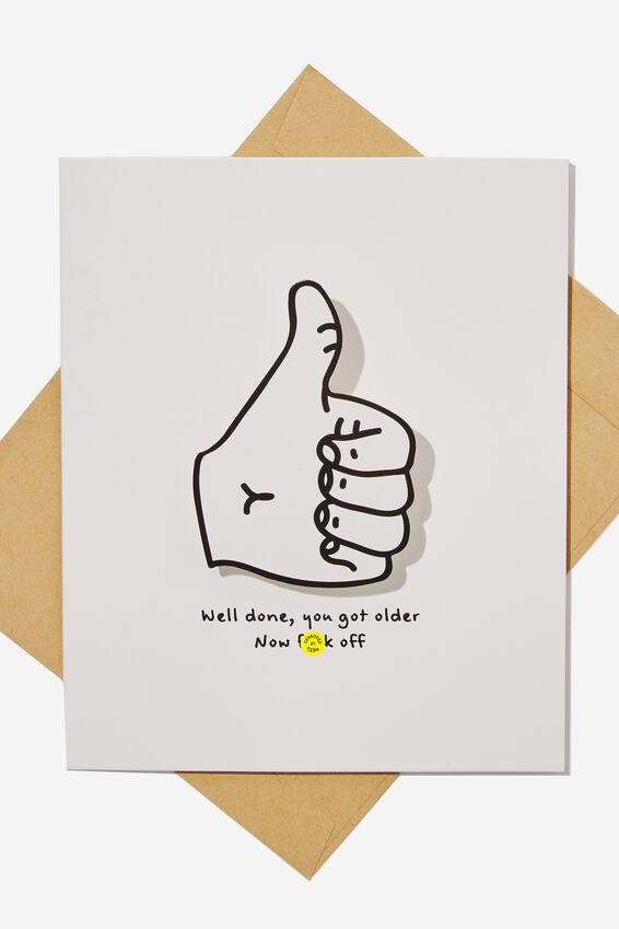 Premium Funny Birthday Card, BOBBLE THUMBS UP F*CK OFF!!