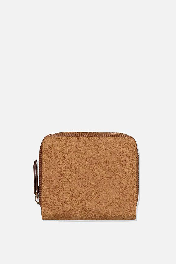Rfid Mini Wallet, MID TAN TOOLED PAISLEY