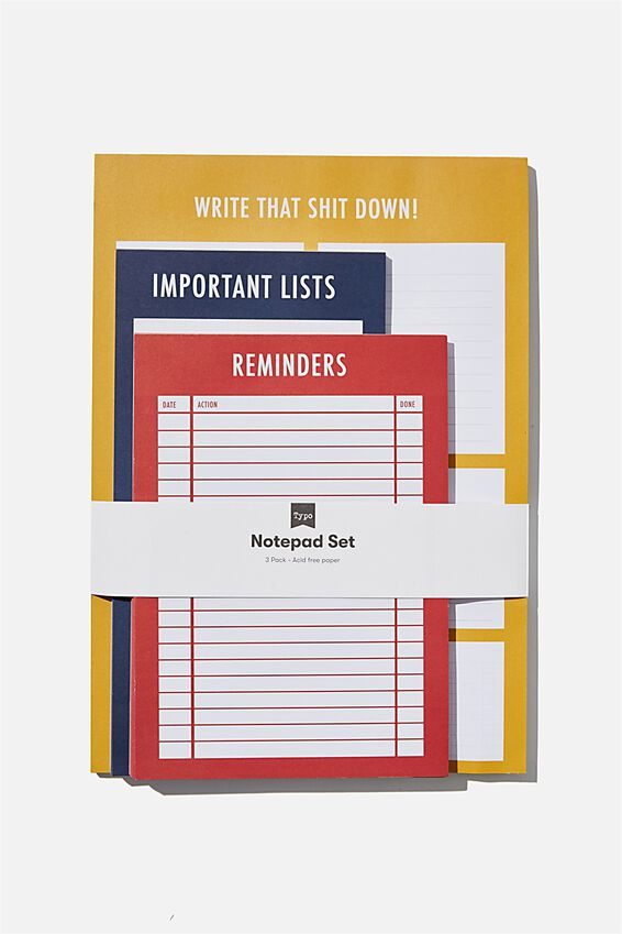 Notepad 3Pk, YELLOW  BLUE  RED
