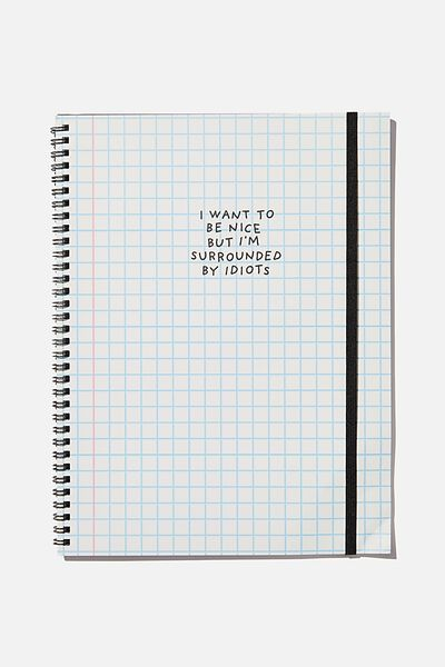 A4 Spinout Notebook Recycled, SURROUNDED BY IDIOTS