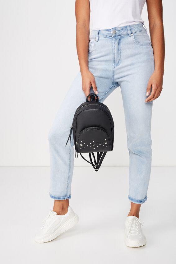 Sunset Mini Backpack, BLACK W STUDDED PKT