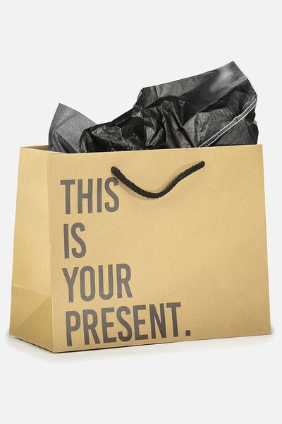 Medium Gift Bag with Tissue Paper, KRAFT THIS IS YOUR PRESENT