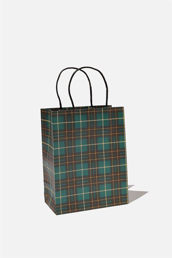 Get Stuffed Gift Bag - Small, GREEN TARTAN