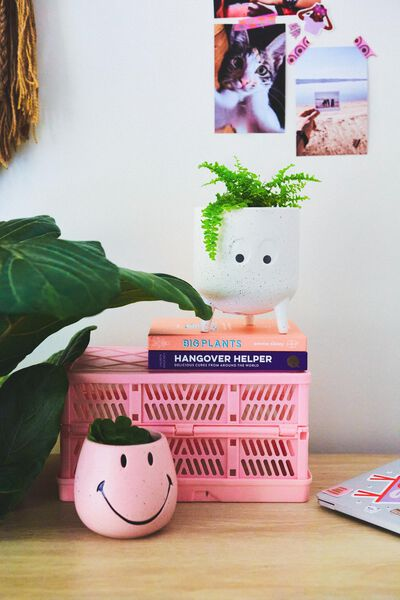 Midi Shaped Planter, WHITE SPECKLE EYES