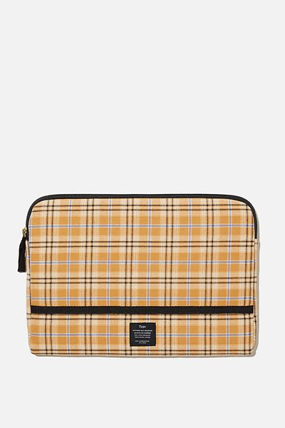 Take Me Away 11 Laptop Case, YELLOW BROWN CHECK
