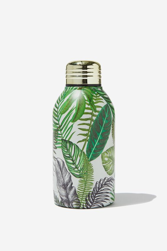 Mini Metal Drink Bottle, STONE FERN FOLIAGE