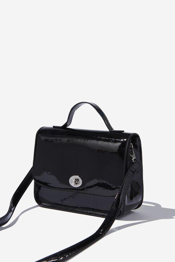 Mini Turnlock Satchel Bag, PATENT BLACK