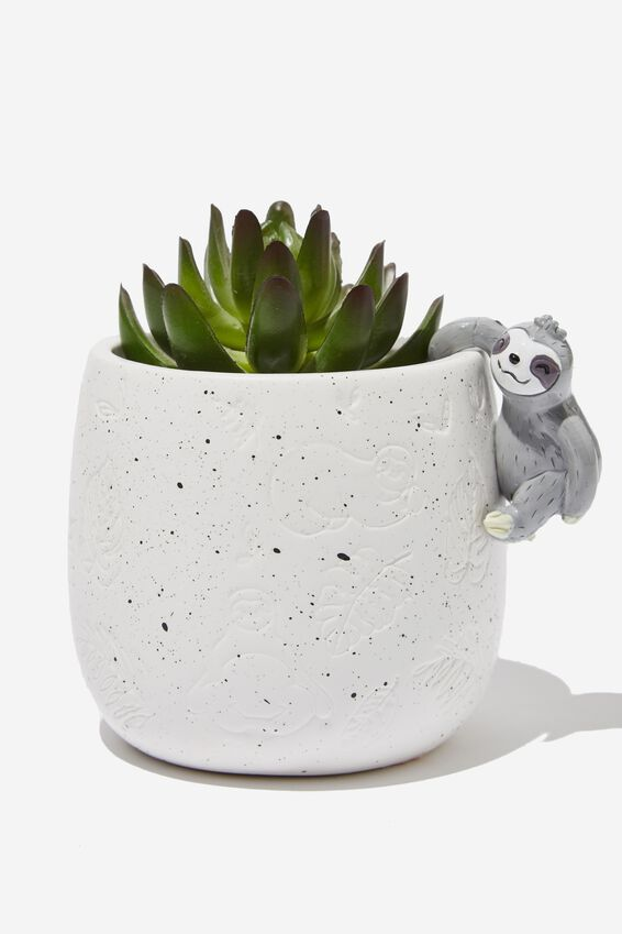 Small Shaped Planter, WHITE WITH SLOTH