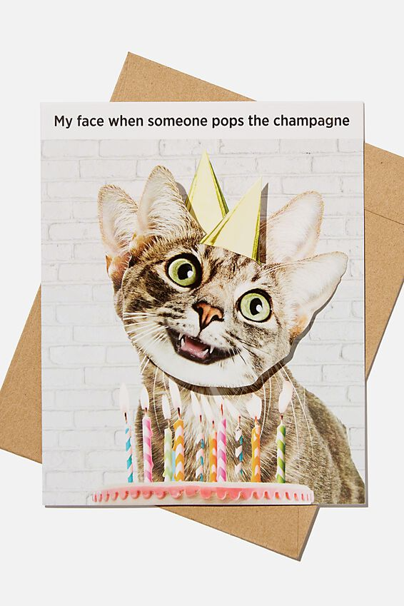 Premium Funny Birthday Card, BOBBLE CAT CHAMPAGNE!