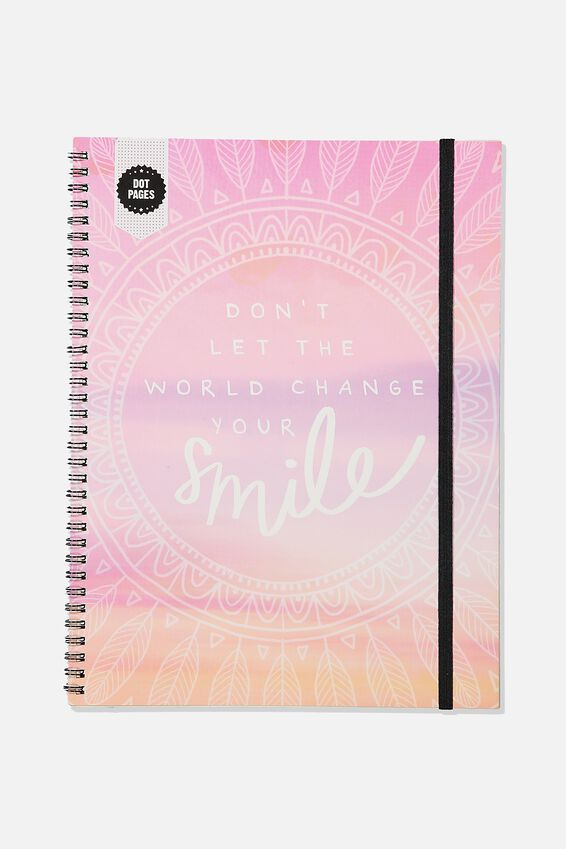 A4 Spinout Notebook Dot Page, MANDALA CHANGE YOUR SMILE