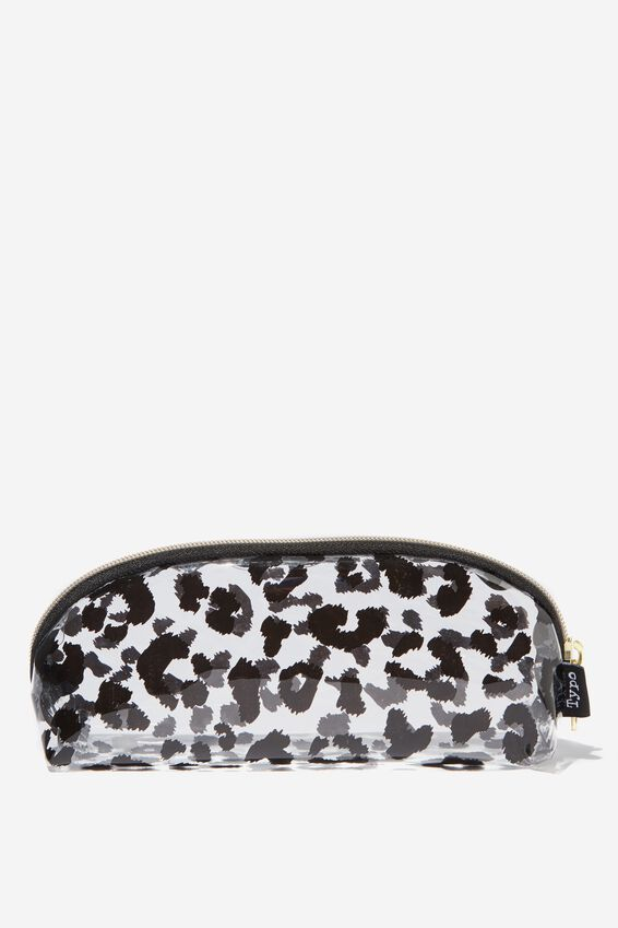 Curved Pencil Case, WHITE LEOPARD