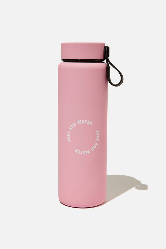 On The Move Metal Drink Bottle 500Ml, PLASTIC PINK JUST ADD WATER