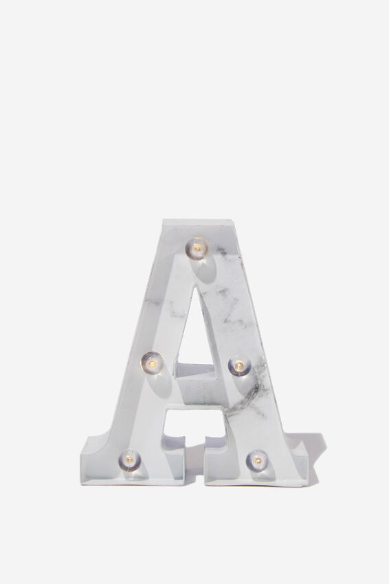 Mini Marquee Letter Lights 10cm, MARBLE A