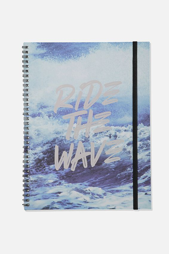 A4 Spinout Notebook Recycled, RIDE THE WAVE