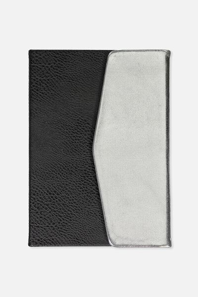 A5 Magnetic Close Journal, SILVER AND BLACK