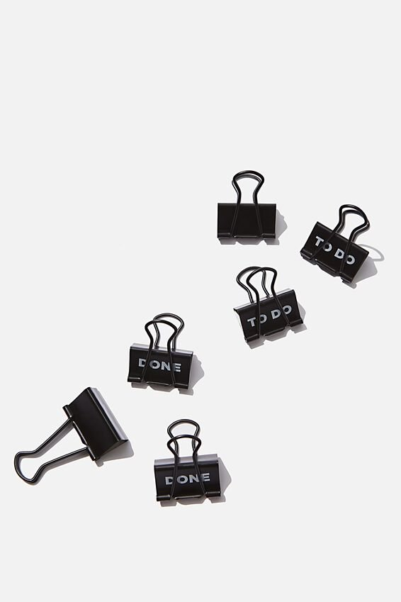 Bulldog Clip Pk 6, BLACK TO DO