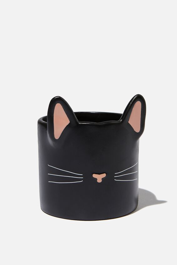 Small Shaped Planter, BLACK CAT