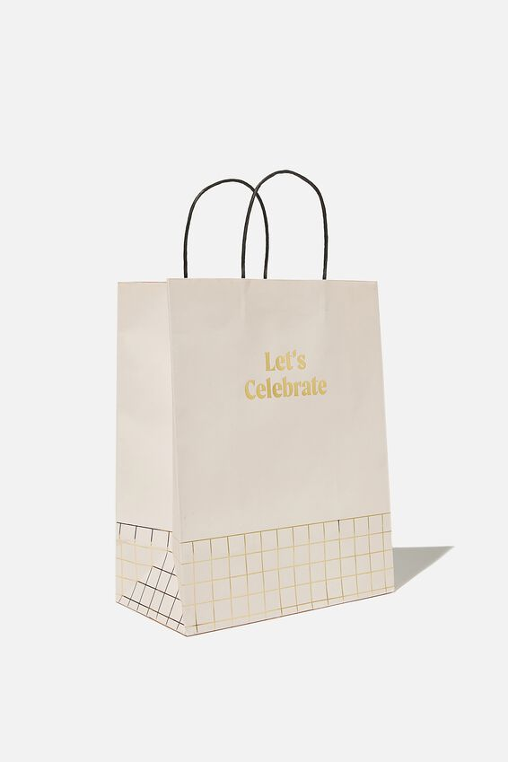 Get Stuffed Gift Bag - Medium, LETS CELEBRATE ECRU