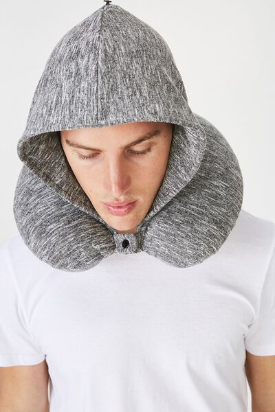Travel Neck Pillow with Hood, SPACE DYE